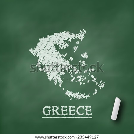 Greece map on chalkboard green in vector format - stock vector
