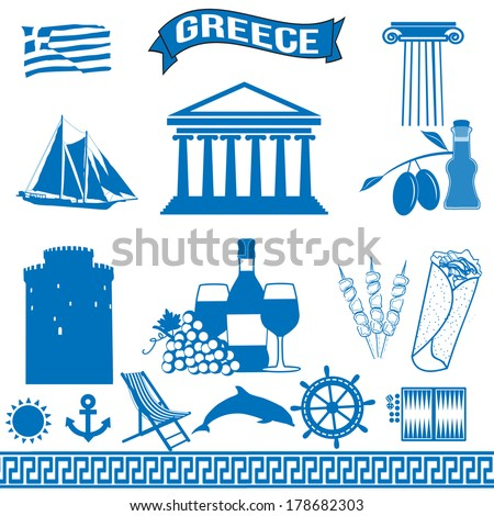 Greece - traditional greek symbols on white background, vector illustration - stock vector