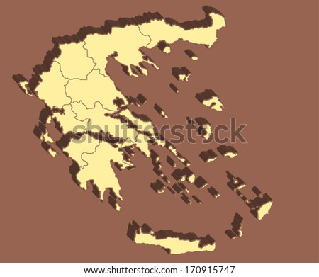 Greece Vector Map - stock vector