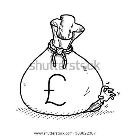 Greedy Businessman Doodle, a hand drawn vector doodle illustration of a big money bag on top of a greedy businessman. - stock vector