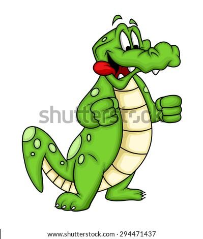 Greedy Cartoon Crocodile - stock vector