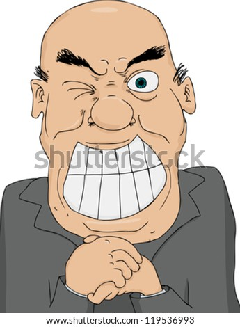 Greedy politician wringing his hands and winking - stock vector