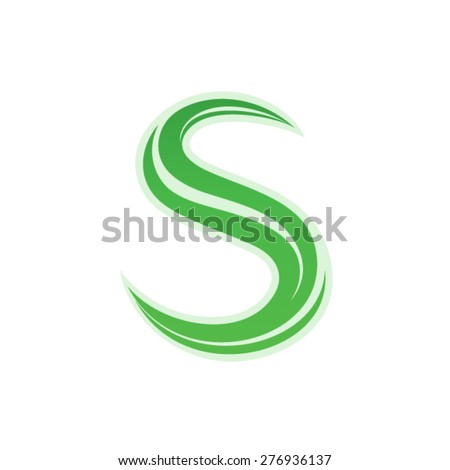 Greeen path letter S design - stock vector