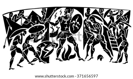 Greek background with the warring soldiers. The war in the mountains. - stock vector
