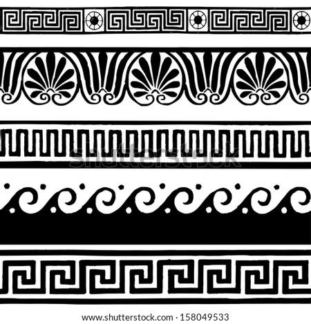 Greek border ornaments, meanders - stock vector