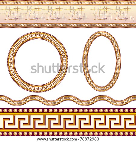 Greek border patterns. Illustration on white background - stock vector
