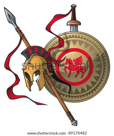 Greek coat of arms: helmet, spear, sword and shield, vector illustration - stock vector