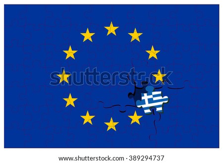 Greek flag colored jigsaw puzzle piece making a crack in the european twelve star flag - stock vector