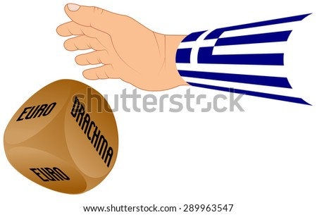 greek hand with dice euro or drachma, crisis eurozone  Greece, economic concept  - stock vector