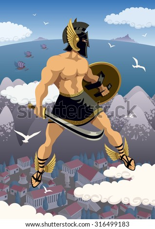 Greek hero Perseus flying in his magic sandals. No transparency used. Basic (linear) gradients. - stock vector