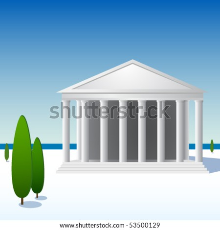 Greek landscape with ancient temple - stock vector