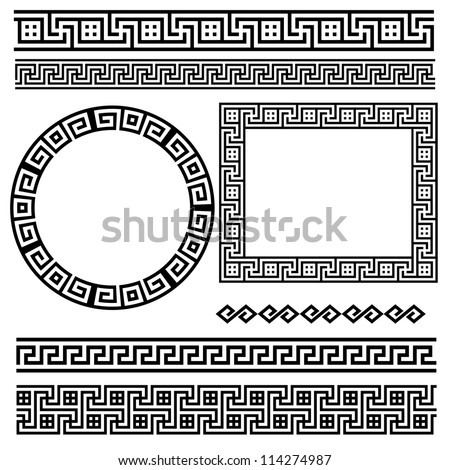 Greek traditional meander border set. Vector antique frame pack ...