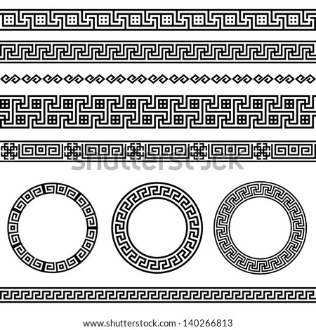 Greek traditional meander border set. Vector antique frame pack. Decoration element patterns in black and white colors. Ethnic collections. Vector illustrations. - stock vector