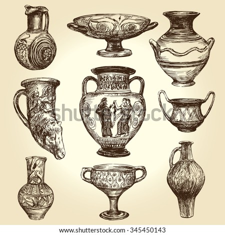 Greek vases, hand drawn collection - stock vector