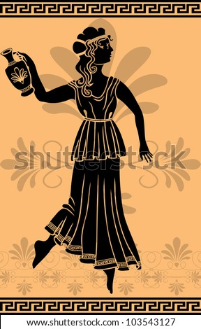 greek woman with amphora stencil - stock vector