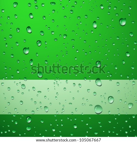 Green abstract background with drops - no transparency applied - stock vector