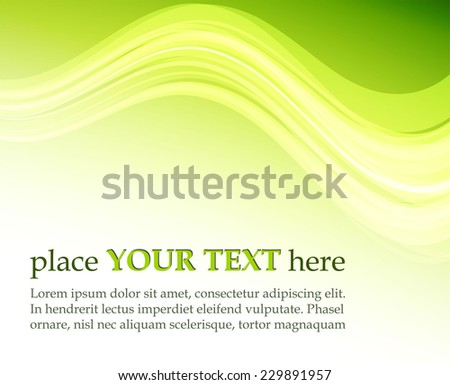 Green abstract background with waves - stock vector