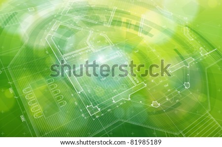 Green abstract house plan: vector blueprint - stock vector