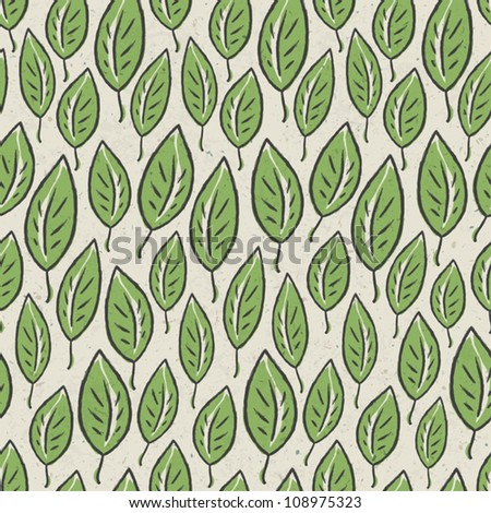 Green abstract leaf seamless pattern on recycle ecology paper texture. Vector illustration, EPS10. - stock vector