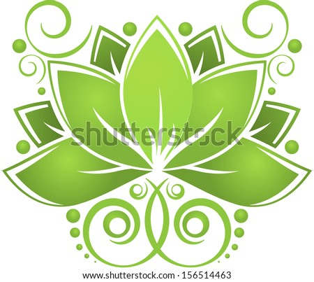 Green abstract lotus on white background. eps10 - stock vector