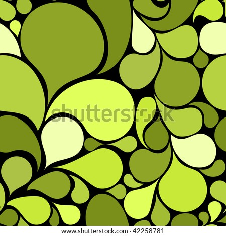 Green abstract seamless pattern made from various spatters (vector) - stock vector