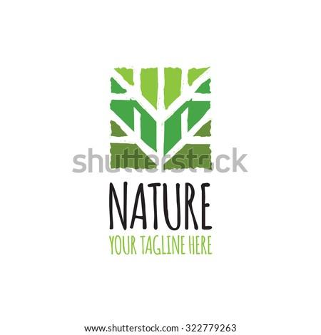 Green abstract tree Logo - stock vector