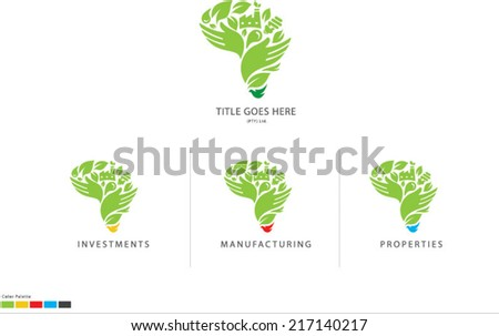 Green Africa Icon Logo Development - stock vector