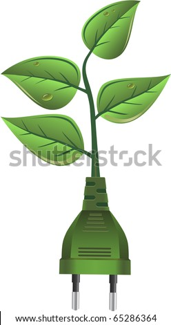 Green alternative energy, electricity plug and leaves - stock vector