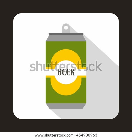 Green aluminum can icon in flat style on a white background - stock vector