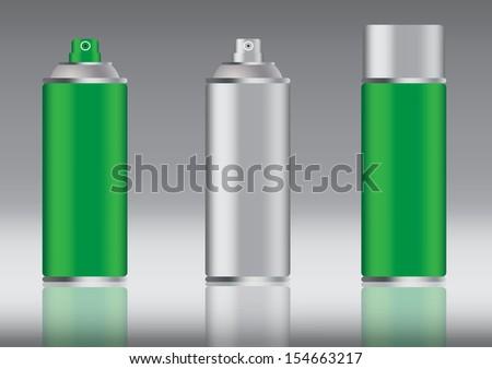 green aluminum spray can vector images - stock vector