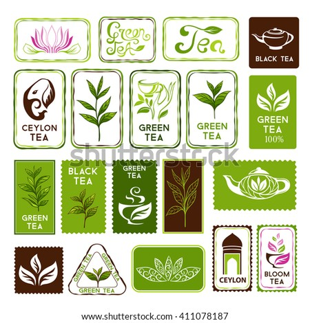 Green and black tea stamps and labels. Decorative elements for package design - stock vector