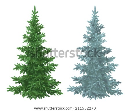 Green and blue Christmas spruce fir trees isolated on white background. Vector - stock vector