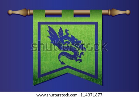 Green and blue medieval banner flag with cloth texture and symbol of a dragon - stock vector