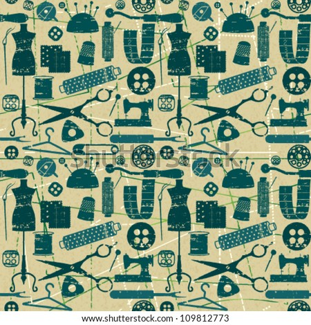 Green and blue seamless pattern with scratched sewing and tailoring elements on textured background - stock vector