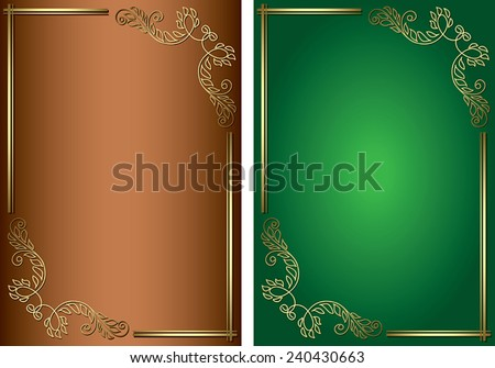 green and brown backgrounds with golden decorations - vector - eps 8 - stock vector