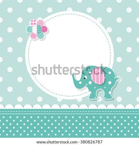 green and pink elephant baby greeting card - stock vector