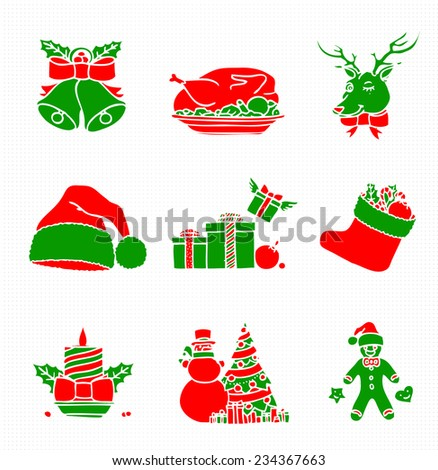 Green and Red Christmas Silhouettes - stock vector