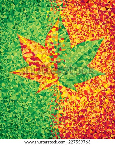 Green and red mosaic background with maple leaf. Eps8. CMYK. Organized by layers. Global colors. Gradients free. - stock vector