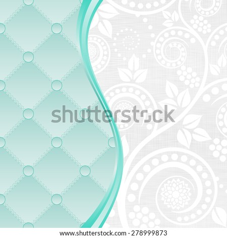 green and white background with decorative pattern and floral ornaments - stock vector