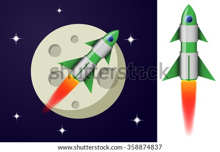 Green and white cartoon steel rocket flying in space on planet background - stock vector