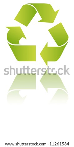green and white recycle signs in  mirror - stock vector
