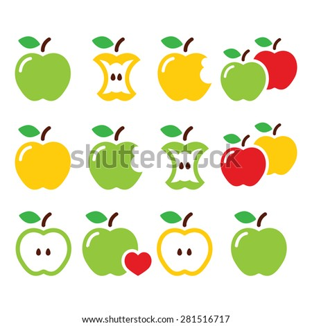 Green and yellow apple, apple core, bitten, half vector icons - stock vector