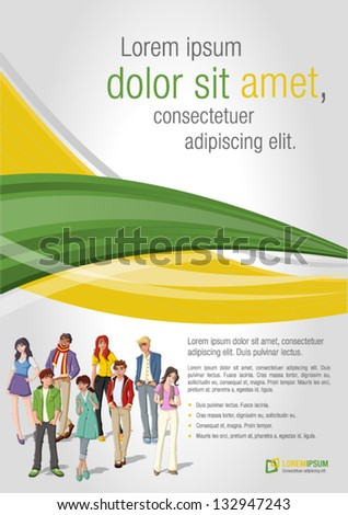 Green and yellow template for advertising brochure with young people. Teenagers. - stock vector