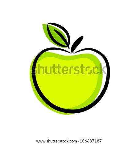 Green apple - stock vector