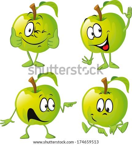 green apple cartoon with hand - stock vector