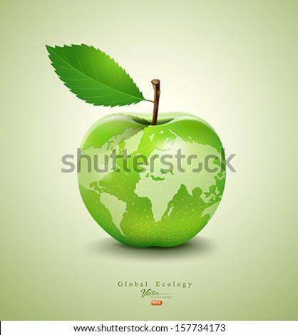 Green apple earth design, vector illustration - stock vector