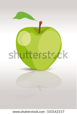green apple isolated on white, vector illustration - stock vector
