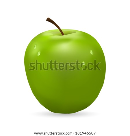 green apple on a white background  - stock vector