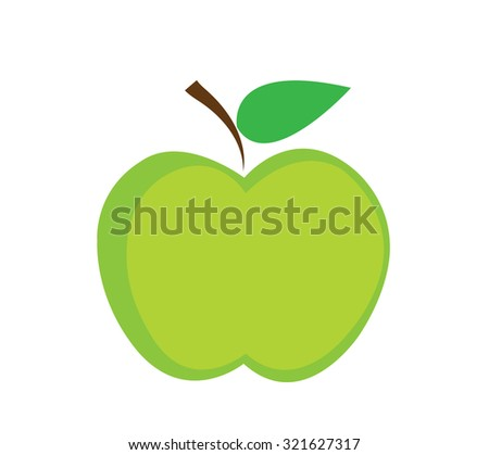 Green apple Vector illustration  - stock vector