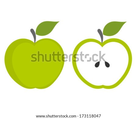 Green apple - whole and cut fruit. Vector illustration - stock vector